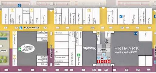 Centre map showing Primark